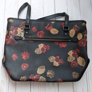 Coach Zip Top Floral Tote Purse F37055 EUC